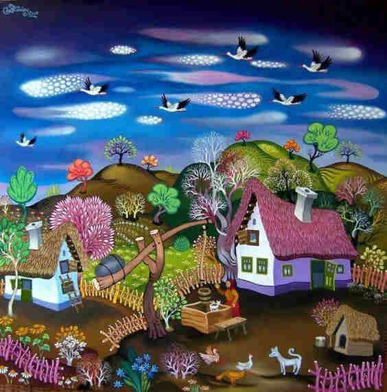 рисунок сельского дома