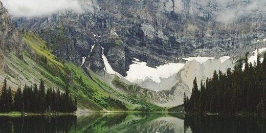 озеро, горы, лес, облака, суровая природа
