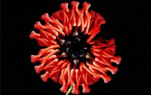 цветок из женских силуэтов
