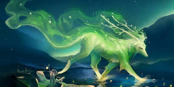 образ странного животного в северном сиянии