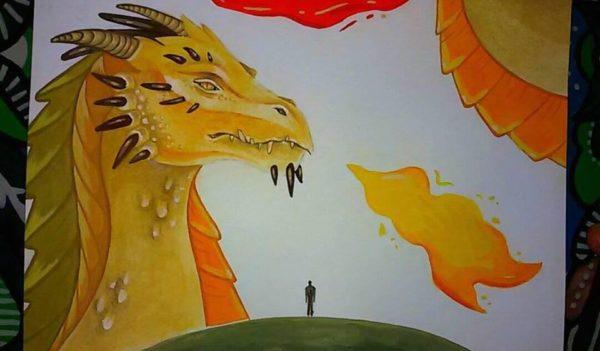 рисунок огромного дракона над землей