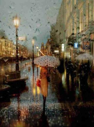 женщина с зонтом под дождем
