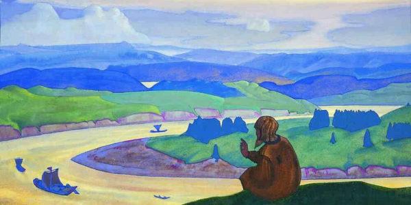 картина Рериха: мудрец у реки